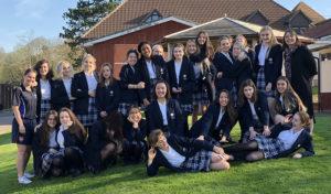 Year 11 Girls saying goodbye to